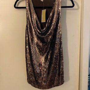 NWT Michael Kors Gold Sequins Tank Top